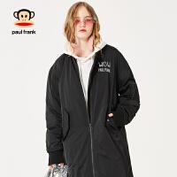 拍下立减![商场同款]PaulFrank/大嘴猴棉服女中长款修身加厚保暖外套女