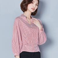 条纹衬衫女2018春装新款韩版短款长袖棉上衣显瘦V领打底衫衬衣 2X