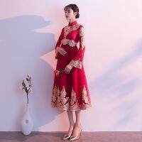 孕妇敬酒服新娘旗袍2018新款冬大码中式结婚礼服女高腰遮肚进酒服 酒红色