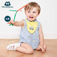 【2件3.8折】迷你巴拉巴拉女童宝连体衣夏装婴幼儿可爱头饰翻领纯棉包屁衣
