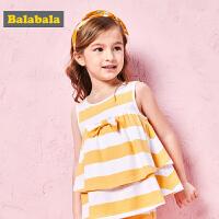巴拉巴拉童装女童套装小童宝宝儿童两件套夏装新款纯棉T恤薄