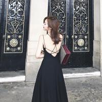 沙滩裙2019女夏性感海边度假长裙黑色吊带露背普吉岛泰国连衣裙 黑色 一切用质量说话 XS 身材娇小也能穿