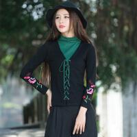 中国风春装装新款 民族风女装 复古高领假两件绣花长袖T恤女上衣