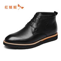 红蜻蜓男鞋秋冬季新款真皮高帮鞋英伦软皮休闲皮鞋男时尚潮鞋