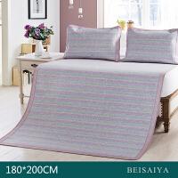贝赛亚家纺 北海道野衫凉席三件套 1.8米床可折叠空调席 彩条