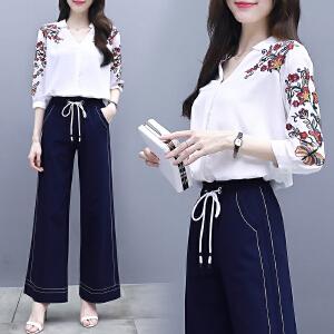 安妮纯七分袖刺绣衬衫港味两件套女2020春装新款韩版阔腿裤时尚套装女
