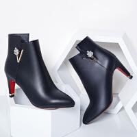 2016秋冬新款欧美尖头红色婚鞋女高跟细跟马丁靴女短靴子ms833MSPZ