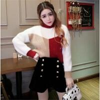 冬季新款韩版圆领套头拼色宽松毛衣+双排扣毛绒阔腿裤两件套