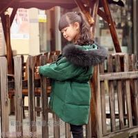冬季儿童装羽绒服男童女童加厚长款大童貉子毛领洋气外套秋冬新款 绿 黑貉子毛