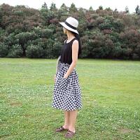 格子半身裙女中长款宽松显瘦日系文艺复古日系2018新款 黑白格子 均码