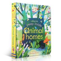 英文原版Usborne Peep Inside Animal Homes 偷偷看里面 动物的家 纸板洞洞书 翻翻书 入