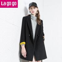 Lagogo/拉谷谷冬季双排扣中长款纯色毛呢大衣 EDH973B206