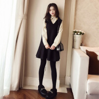 2018chic早秋新款连衣裙女韩范毛呢长袖衬衫套装裙子加外搭两件套