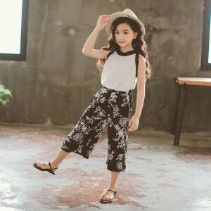 乌龟先森 儿童套装 2018新甜美童套装女童夏装中大童儿童花朵短裤两件套童装