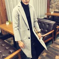 新款秋冬潮男士韩版宽松长袖中长款呢子风衣男装外套个性纯色青年