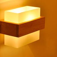 【满199-100】实木壁灯过道阳台北欧原木风格卧室床头简约 卧室床头灯 玻璃实木壁灯YX-LMD-2128