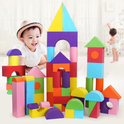 橙爱 儿童EVA软性积木 软泡沫海绵大块积木 男女孩拼装益智玩具 收纳袋装 可水洗益智玩具限时钜惠