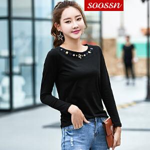 SOOSSN 2018秋季新款女装上衣绣花T恤女文艺范女式T恤 6066