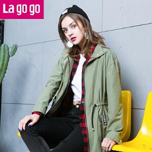 【每满200减100】Lagogo2017新款春装薄款风衣中长款抽绳显瘦宽松女式韩版外套