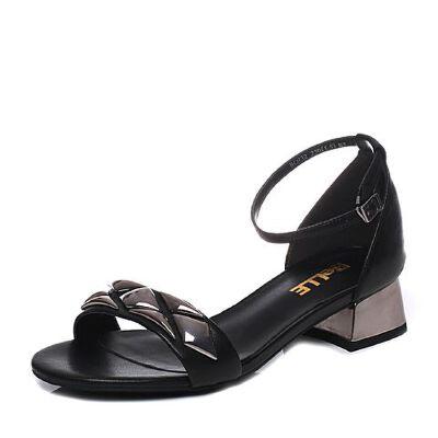 Belle/百丽2017夏专柜同款羊皮女凉鞋BOJ32BL7