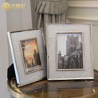 简欧式简约现代样板房样板间家居软装饰品亚克力创意个性相框摆台 银色