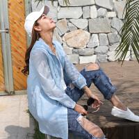 防晒衣中长款女士夏季新款长袖纯色防晒服中长款防紫外线薄透气防晒衫外套