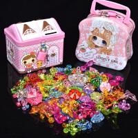 儿童diy手工水晶宝石串珠项链穿珠子亚克力仿水晶公主七彩色玩具