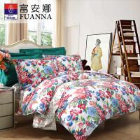 【年货直降】富安娜家纺 温暖舒适印花床品四件套 纯棉斜纹床单被套
