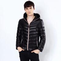 雅鹿2016新款轻薄时尚短款羽绒服男 青年户外连帽修身冬季外套
