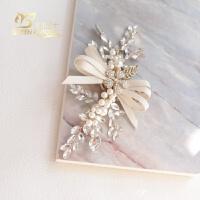 精致小巧唯美甜美韩式水钻花朵粉色叶子发夹儿童新娘伴娘婚饰头饰