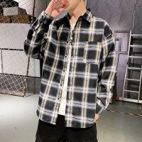 新款男长袖衬衫格子韩版潮流帅气青少年学生休闲衬衣男寸衣