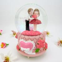 玻璃玫瑰水晶球女生生日礼物友情雪花天空之城儿童发光音乐盒摆件