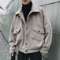 秋冬季男士工装呢料夹克韩版休闲加厚潮流ulzzang毛呢大衣短款外套男