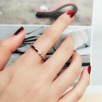 镀18K玫瑰金钛钢饰品 简约单锆石戒指女尾戒子食指环对戒