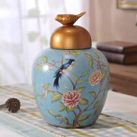 美式乡村复古陶瓷储物罐客厅玄关酒柜摆件欧式样板间家居软装饰品