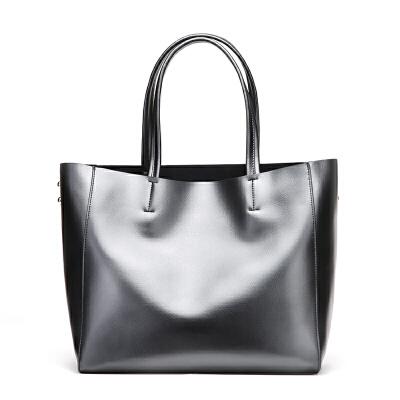 牛皮女包新品欧美时尚单肩手提包大容量女士购物包   Q赠送头层牛皮女短款钱包多卡位多功能