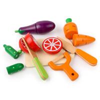 玩具木制大颗磁性蔬菜水果切切看玩具