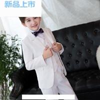 韩版白色儿童西装格子套装花童礼服男孩生日礼服小西服钢琴演出服