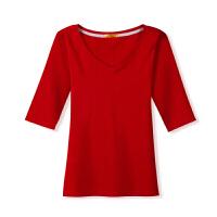2018新款中袖T恤女士春季打底衫女纯棉修身五分袖显瘦黑色V领紧身韩版上衣
