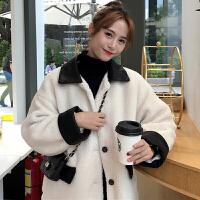 冬季韩版潮流2018新款宽松拼皮加厚棉衣女装chic羊羔毛外套学生上衣潮 图片色 均码