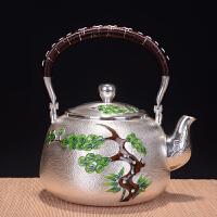 银壶套组 纯手工999银长青松鹤银壶银杯日本银壶茶具烧水壶烧水壶茶壶茶具 纯银功夫茶具