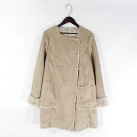 O06058精品秋冬新款两粒扣显瘦百搭女纯色中长鹿皮绒加绒外套