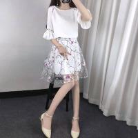 2017夏新款韩版a字裙套装女碎花雪纺荷叶边连衣裙时尚网纱两件套