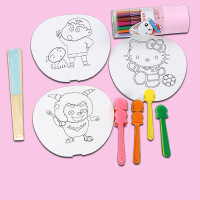白坯绘画涂色儿童手绘彩色纸折宫扇子 创意diy手工制作材料包玩具