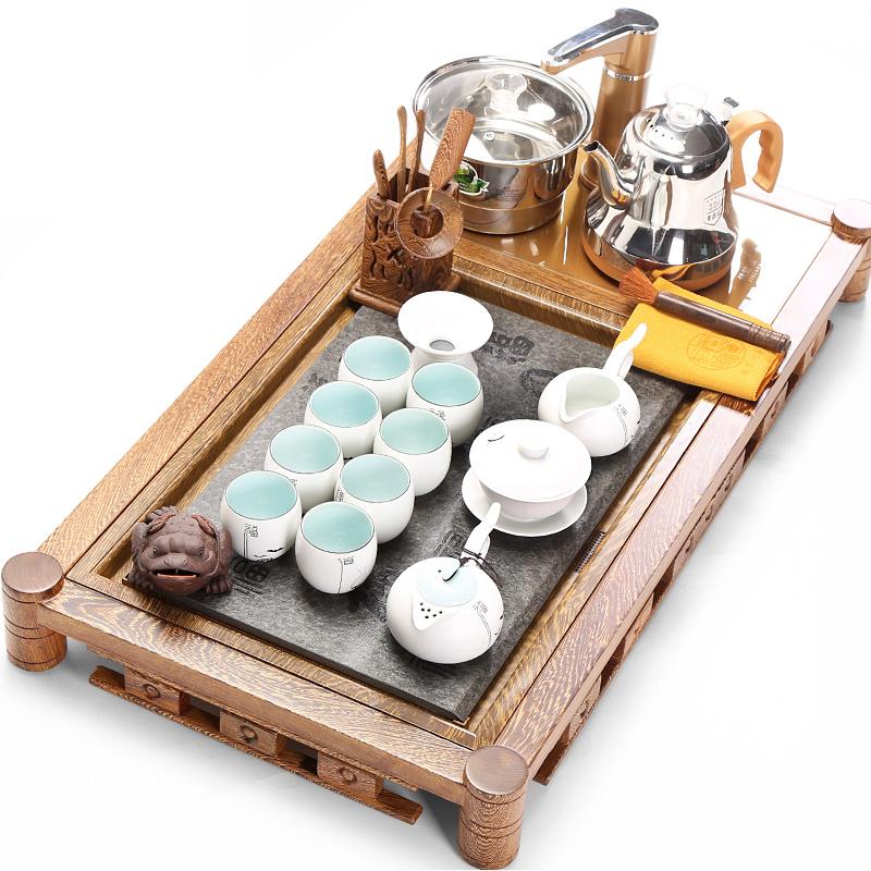茶具茶盘套装电磁炉四合一自动实木长方形乌金石家用大号现代简约