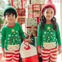 2018秋冬新韩国儿童内衣套装圣诞节套装秋衣秋裤瘦版弹力中厚 翠绿色 绿圣诞树