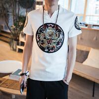 中国风男装龙袍图案大码短袖T恤刺绣清朝官服半袖夏季V领亚麻体��