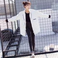 2018春装韩版开学季新款原宿中长款上衣工装宽松bf学生牛仔外套女