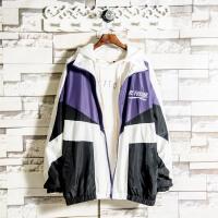INS紫色连帽外套男字母刺绣春秋季学生个性夹克