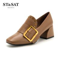 星期六春秋新款铆钉皮带扣高跟粗跟方头时尚女单鞋SS81112369